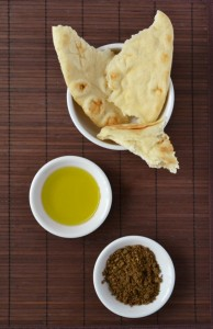 Egyptian dukka with olive oil and naan bread