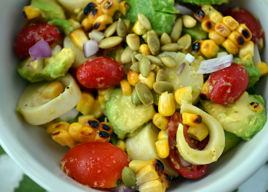 grilled corn and hearts of palm chopped salad - The Occasional Vegan ...