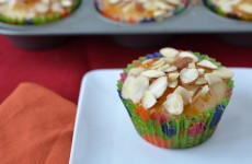 Apricot-filled and almond cupcakes