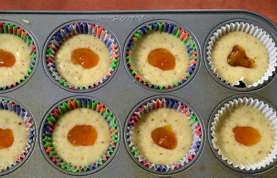 Apricot-filled almond cupcakes, pre-oven