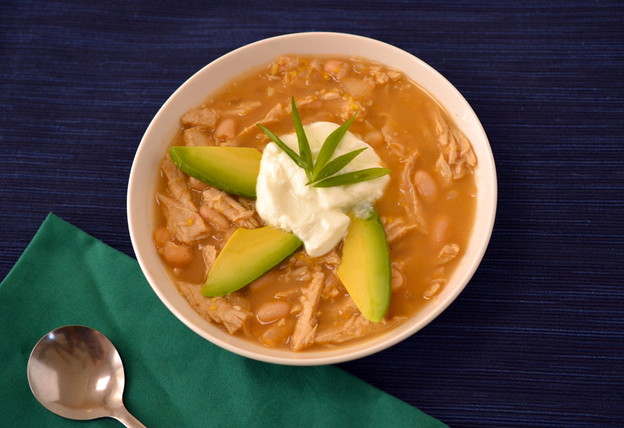 Vegan white chicken chili with Beyond Meat