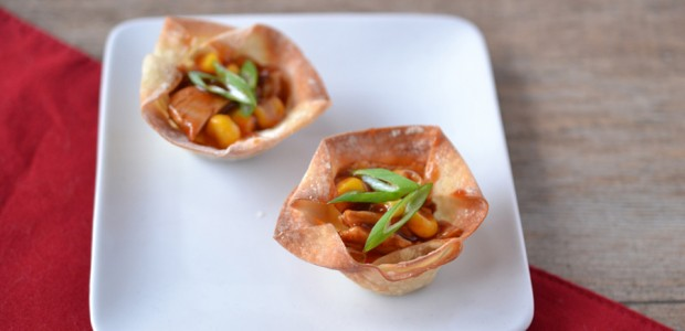 Vegan Barbecue Chicken and Corn Wonton Cups Recipe with Beyond Meat
