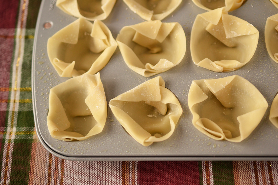 Baked wonton cups - uncooked